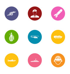 Arming icons set flat style vector