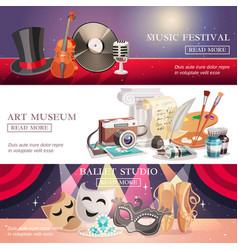 arts horizontal banners set vector image