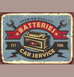 auto batteries retro poster design vector image