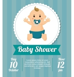 Baby boy of baby shower card design vector image