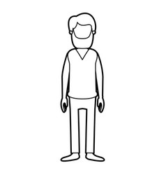 Black thick contour caricature faceless full body vector