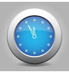 Blue metal button with last minute clock vector