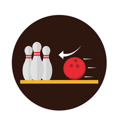 Bowling club sport and leisure game block flat vector