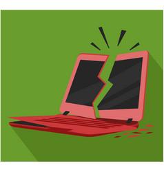broken crashed red laptop notebook vector image
