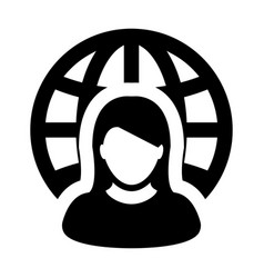 business icon woman global network person avatar vector image
