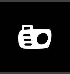 camera icon on black background black flat style vector image
