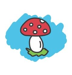 Cartoon doodle mushroom fungi vector image