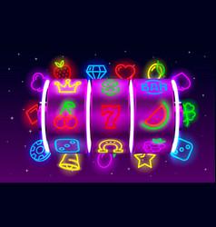 casino slots neon icons slot sign machine night vector image