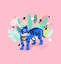 cheerful tiger in rainforest neon blue tiger vector image
