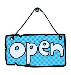 comic cartoon open shop sign vector image
