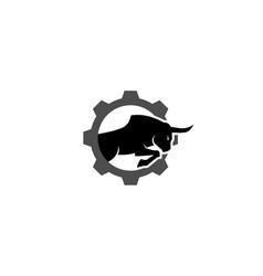 creative bull gear logo design symbol vector image