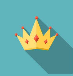 Crown icon with long shadow flat design vector