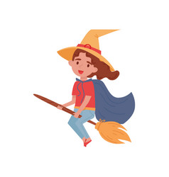 cute little girl dressed as a witch flying on a vector image
