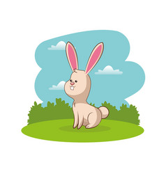cute rabbit animal with landscape vector image