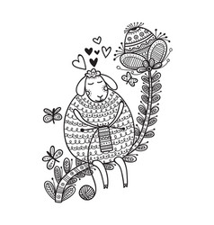 Cute sheep knitting with yarn vector