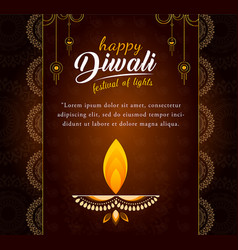 Decorated diwali card design vector