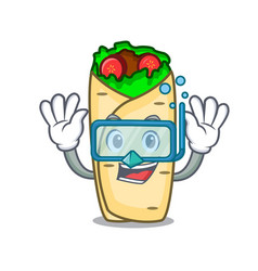 Diving burrito character cartoon style vector