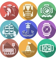 Diving flat color icons collection vector image