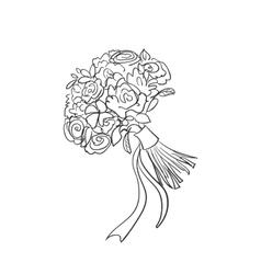 Doodle bridal bouquet vector