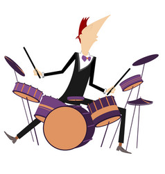 Drummer and drum kit vector