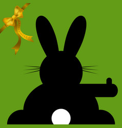 Easter wishes sitting and hitchhiking bunny vector