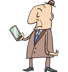 elder man with smart phone vector image