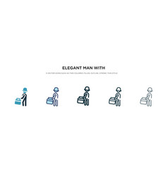 Elegant man with suitcase icon in different style vector