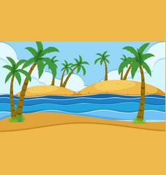 Empty nature beach ocean coastal landscape vector