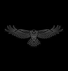 engraving of stylized hawk on black background vector image