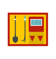 fire shield with fire extinguishing tools icon vector image