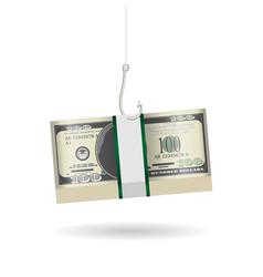 fishing hook phishing pack dollar banknote vector image