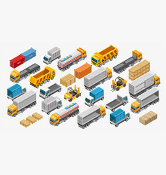 Forklifts and trucks near goods vector