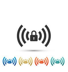 Free wi-fi safety lock sign on white background vector