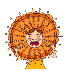 Girl roar in lion costume isolated portrait vector