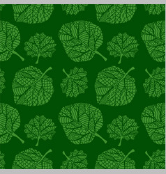 green seamless pattern with hand drawn leaves vector image