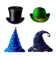 halloween headdress - top hat bowler cap vector image