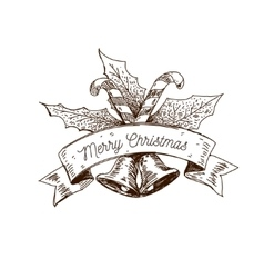 hand drawn christmas logo vector image