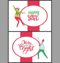 happy new year merry and bright christmas set vector image
