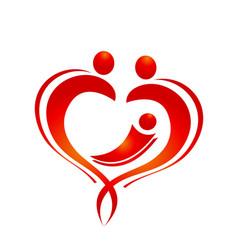 heart love family figure icon logo vector image