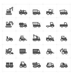 icon set - construction and machine filled icon vector image