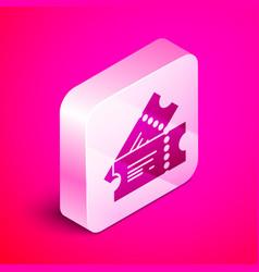 Isometric cinema ticket icon isolated on pink vector