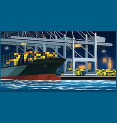 Loading containers in the port at night vector