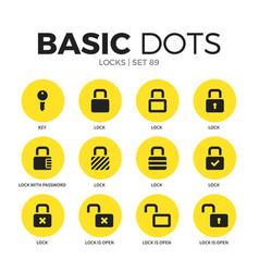 Locks flat icons set vector