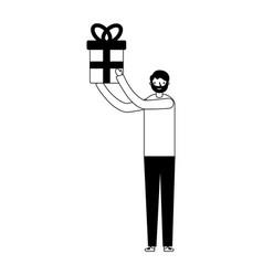 man holding gift box on white background vector image
