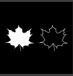 maple leaf silhouette icon set white color flat vector image