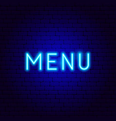 Menu neon text vector
