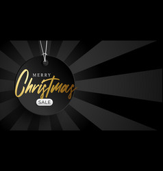 merry christmas golden sale banner round price vector image