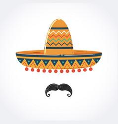 Mexican sombrero with mustache vector