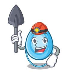 Miner oxygen mask mascot cartoon vector