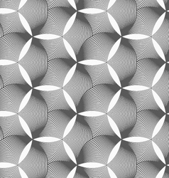 Monochrome striped puckered hexagons vector